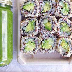 avocado sushi & green juice.