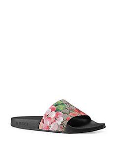 Gucci - Pursuit Bloom Canvas Slide Sandals