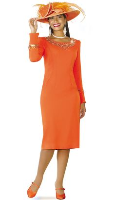 a576ea01e4b779 Lily and Taylor 3861 1 Piece Crepe Fabric Church Dress With Rhinestone  Embellishments Colors Orange Sizes 4 6 8 10 12 14 16 18 20 22 24