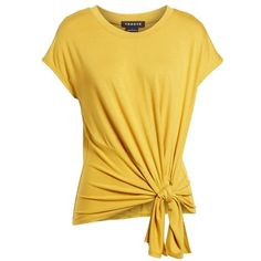 Women's Trouve Knot Front Tee ($52) ❤ liked on Polyvore featuring tops, t-shirts, knot front tee, yellow t shirt, knot top, knotted t shirt and yellow tee
