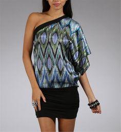 Blue/Black One Shoulder Mini Dressess