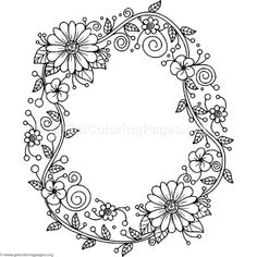 Floral Alphabet Letter O Coloring Pages Emoji Coloring Pages, Coloring Letters, Alphabet Coloring Pages, Doodle Coloring, Flower Coloring Pages, Printable Coloring Pages, Coloring Books, Free Coloring, Colouring