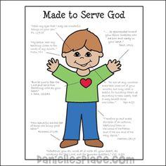 Made to Serve God Boy Coloring Sheet