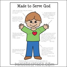 Made to Serve God Boy Coloring Sheet