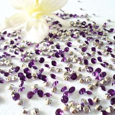 purple & silver rhinestones for the tables.