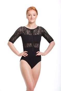 Our tasteful and elegant leotard features a Zip Front and lots of Kara Lace. You'll feel ready for anything and completely classy. It is lined in the bodice. 88% Nylon, 12% Spandex