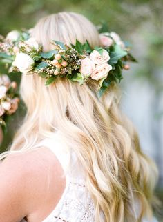 Flower crown with lush greens and soft peach