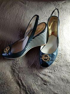 d973d28d2b25a Michael Kors Wadge Shoes Navy Blue Size 75 -8  fashion  clothing  shoes