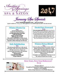 january 2017 Spa Promo, Salon Promotions, Spa Specials, Spa Menu, Essential Oils For Massage, Massage Business, Body Spa, Salon Services, Spa Massage