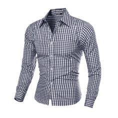 a2e41d886 Men s Long Sleeve Button Down T-shirt Tops Slim Fit Gingham Casual Dress  Shirts