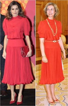 Reina Letzia recicla vestido Reina Sofia. Queen Rania, Queen Letizia, Royal Dresses, Modest Dresses, Dress Outfits, Cool Outfits, Estilo Real, Royal Queen, Casa Real