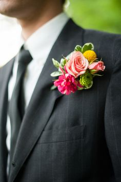 Lush Pink Tea Rose Boutonniere With Billy Ball | Photo: Laura Matthews Photography | Boutonniere: Flowers by Zoie |