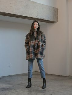 Woolen Loose Fit Check JacketThe delivery starts from Jan. along with your purchase order! Korean Girl Fashion, Korean Fashion Trends, Korean Street Fashion, Asian Fashion, Fashion Men, Korean Fashion Winter, Korea Street Style, Korean Outfit Street Styles, 2000s Fashion