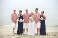 Coral and navy - a classic summer combination. Beach weddings, Koh Samui, Thailand