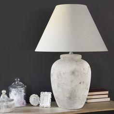 Lámpara de cerámica y pantalla de algodón gris topo Al. 74cm | Maisons du Monde