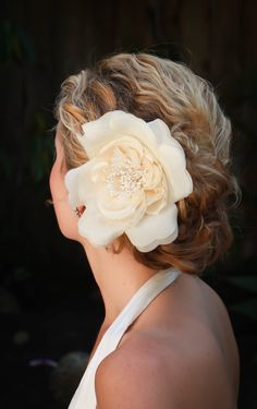 Adele bridal hair flower Vintage ivory/creme or by AmieNoelDesigns, $48.00