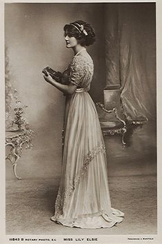 U.K. Lily Elsie, 1900s. She was known for her charm and rare beauty. It made her one of the most photographed women in the Edwardian Era... absolutely beautiful from every angle. Her big break through was the the operetta 'The Merry Widow' by Franz Lehár. Elsie wore designs by Lady Duff Gordon, a leading fashion designer at the time, making her a true Edwardian style icon.