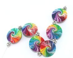 Colorful swirl lentil beads with tiny silver dots, Polymer Clay beads in rainbow colors, unique pattern,  set of 6 Elegant beads