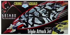 Want one, We got one! Batman's Triple Attack Jet is 3 jets in One! The lead jet divides into the attack wing and the pursuit jet. From Batman the Animated Series! Kenner '95 complete, moderate shelf wear, displays very nicely & looks like great fun to play with.