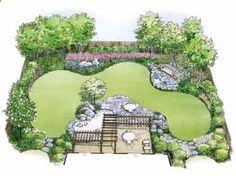 Arcs define various garden alcoves in a water garden landscape (House Plan from BuilderHousePlans...).
