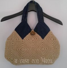 Borsa casual ... lana e jeans Shoulder bag Tiles di Acasaconmanu