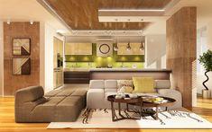 Download wallpapers stylish modern interior, kitchen, living room, minimalism, modern design
