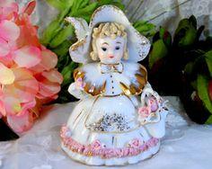 Vintage Lefton Porcelain Little Bo Peep with Basket Bloomer Girl Figurine No. 1052 with Basket – Sweet Nostalgia!
