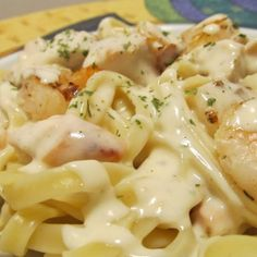 Fettuccine Alfredo with Grilled Chicken and Shrimp