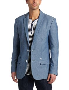 J.C Rags Men's Dry Chambray Blazer   , 100% cotton   , Machine Wash   , Classic dry chambray with white , button detail   , Show More  , Front pocket pulls out into optional , blue and white stripe pocket square   , Blue and white inner sleeve lining   , Made in China