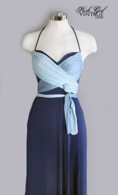 70s Blue Maxi Dress