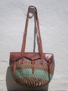 Shoulder Bag - Sisal Leather Bag- Woven Sisal bag - 70's Inspiration - OficinaDartesa*Craftswoman Shop by OficinaDartesa on…