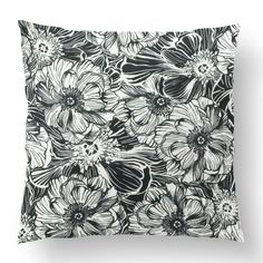 "18"" Custom Outdoor Mallorie Cushion  Mallorie Item# CC-OD0004 100% Polyester Cover 100% Polyester Fill Black Custom Outdoor Cushions, Fill, Tapestry, Shapes, Texture, Cover, Black, Design, Home Decor"