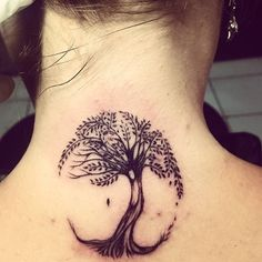 tree of life tattoo on back of neck