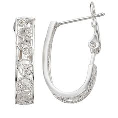 Sunstone 925 Sterling Silver Filigree J-Hoop Earrings (Grey) ($26) ❤ liked on Polyvore featuring jewelry, earrings, grey, sterling silver filigree jewelry, sterling silver jewellery, sterling silver jewelry, hoop earrings and filigree earrings