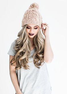 Blush Cable Knit Pom Hat, beanie, blonde, hair, waves, fall fashion
