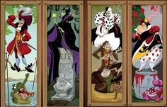 Fan art shows Disney villains and heroines drawn as the stretching portraits from the Haunted Mansion ride.