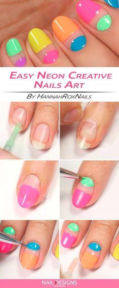 Easy Neon Creative Nail Design