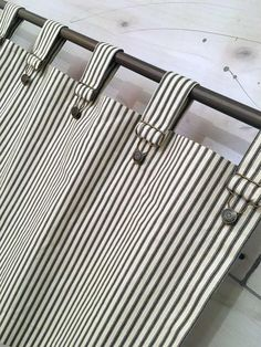 diy curtains Farmhouse Ticking Stripe Cafe Curtains/Drapes/Valance/Pillow -Overall Buckle Tab Top Colors-Custom Curtains -Ships in Biz Days Tab Top Curtains, Striped Curtains, Drapes Curtains, Valance, Cheap Curtains, Curtains Living, Small Curtains, Closet Curtains, Beige Curtains