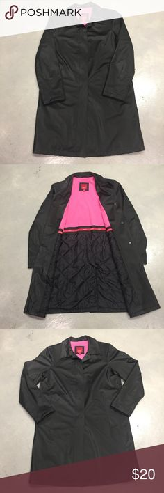 "Esprit Outerwear Coat Beautiful Esprit Outerwear Coat, button down, 2 side pockets. Color :- Black with pink lining. 100% Polyester (Lining, Backing, Filling, Shell) Length 37"" Machine Wash. EUC! Esprit Jackets & Coats Pea Coats"