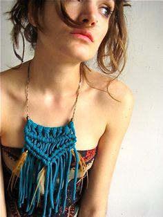 macrame upcycled tshirt necklace