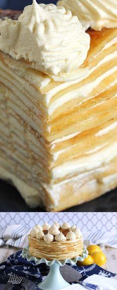 Lemon Mascarpone Crepe Cake #BrunchWeek