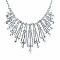Bling Jewelry Silver Plated Art Deco Style Bridal Crystal Choker Necklace *** Check out this great product.