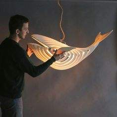 Wooden Whale Lamp - Things I Desire Diy Pendant Light, Pendant Lighting, Chandelier, Cool Lighting, Lighting Design, Luminaire Design, Wooden Lamp, Light Art, Whale