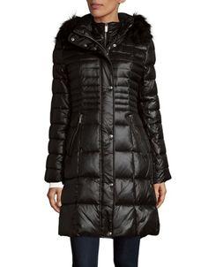 Karl Lagerfeld Paris - Faux Fur Trimmed Hooded Down Coat