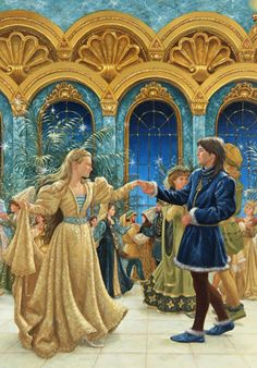 """Illustration from """"The Twelve Dancing Princesses"""" by Ruth Sanderson, 1990. ©Ruth Sanderson. All rights reserved."""