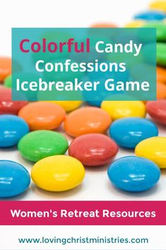 Play this Colorful Candy Confessions icebreaker game at any women's retreat or ministry event. Icebreaker Games For Work, Fun Games, Party Games, Ice Breakers For Women, Womens Ministry Events, Christian Women's Ministry, Christian Retreat, Church Games, Team Building Games