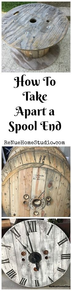 DIY - How To Take Apart a Spool End. We'll give you our secret tips for taking apart a Spool End for your Do It Yourself Projects. Gallery Wall, Spool End, Wire Spool, Spool Table, Spool Clock, Wall Clock, Hairpin Legs, Tutorials, HGTV, Fixer Upper, Shabby Chic, Farmhouse, Industrial Furniture, Modern Rustic, Country Living, Home Decor