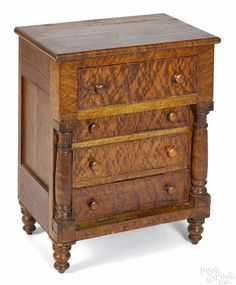 Pennsylvania miniature Sheraton curly maple chest of drawers, ca. Maple Furniture, Antique Furniture, Black Coffee In Bed, Dolly House, Small Dresser, Birdseye Maple, Miniature Furniture, Chest Of Drawers, Cupboards