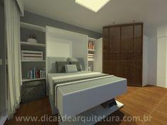 Quarto com closet. http://dicasdearquitetura.com.br/quarto-que-vira-sala/
