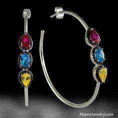Noemi Large Hoop Earrings 3 CZ Stones Ruby Blue Yellow $24.95